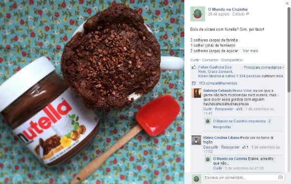 Bolo de Xícara com Nutella